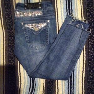 Pretty cropped sparkly jeans